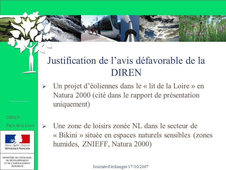 Journée d échanges 17/10/2007 Justification de lavis défavorable de la DIREN Un projet déoliennes dans le « lit de la Loire » en Natura 2000 (cité dans le rapport de présentation uniquement) Une zone de loisirs zonée NL dans le secteur de « Bikini » située en espaces naturels sensibles (zones humides, ZNIEFF, Natura 2000) DIREN Pays de la Loire