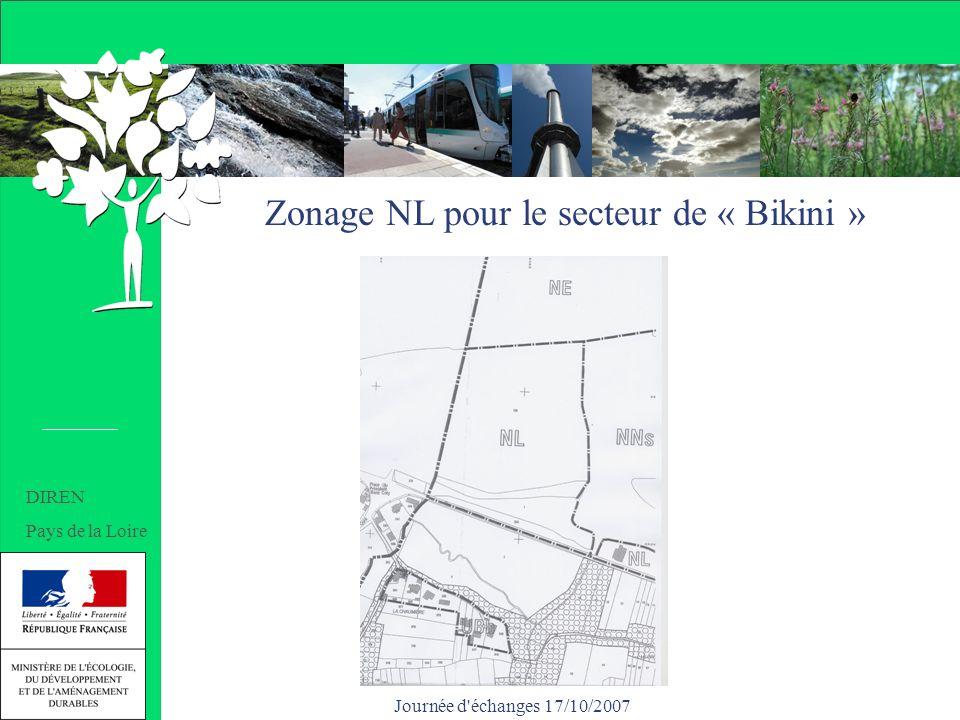 Journée d'échanges 17/10/2007 Zonage NL pour le secteur de « Bikini » DIREN Pays de la Loire