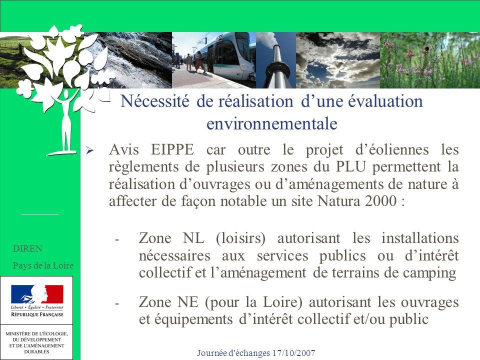 Journée d échanges 17/10/2007 Nécessité de réalisation dune évaluation environnementale Avis EIPPE car outre le projet déoliennes les règlements de plusieurs zones du PLU permettent la réalisation douvrages ou daménagements de nature à affecter de façon notable un site Natura 2000 : - Zone NL (loisirs) autorisant les installations nécessaires aux services publics ou dintérêt collectif et laménagement de terrains de camping - Zone NE (pour la Loire) autorisant les ouvrages et équipements dintérêt collectif et/ou public DIREN Pays de la Loire