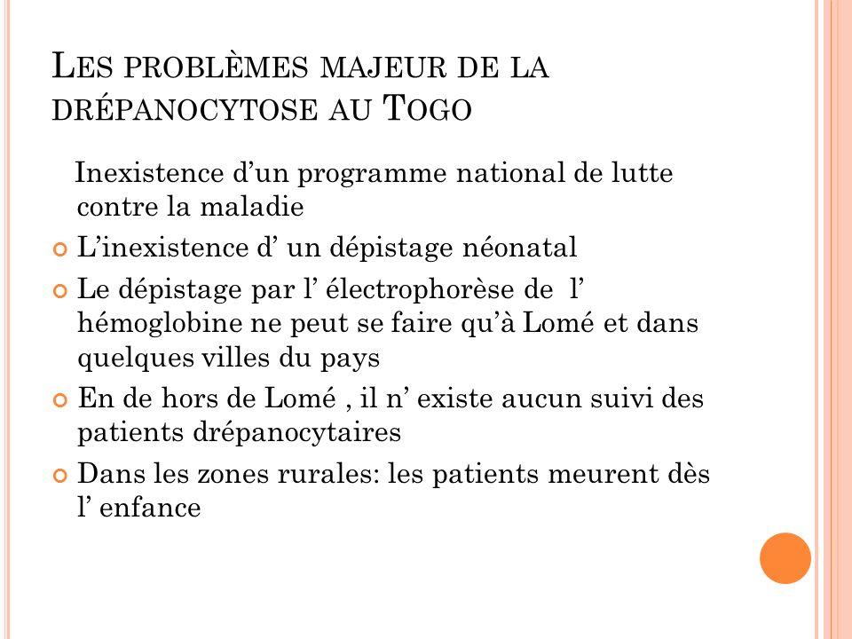 L ES PROBLÈMES MAJEUR DE LA DRÉPANOCYTOSE AU T OGO Inexistence dun programme national de lutte contre la maladie Linexistence d un dépistage néonatal