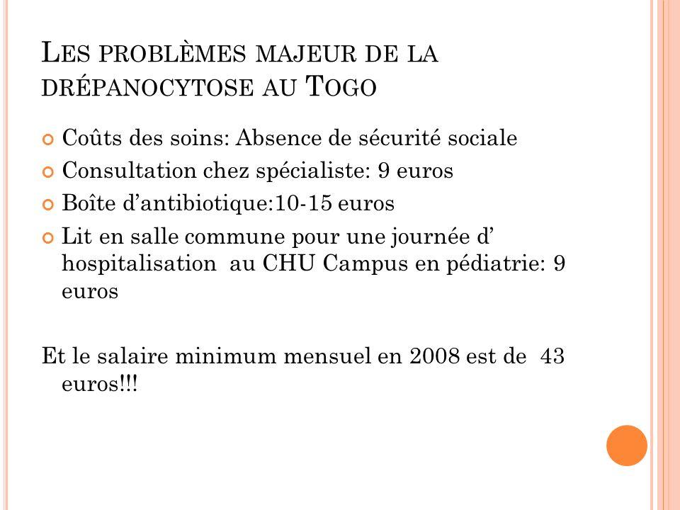L ES PROBLÈMES MAJEUR DE LA DRÉPANOCYTOSE AU T OGO Coûts des soins: Absence de sécurité sociale Consultation chez spécialiste: 9 euros Boîte dantibiot