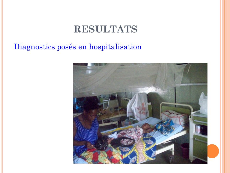 RESULTATS Diagnostics posés en hospitalisation