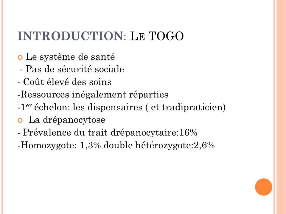 INTRODUCTION : L E TOGO Le système de santé - Pas de sécurité sociale - Coût élevé des soins -Ressources inégalement réparties -1 er échelon: les disp