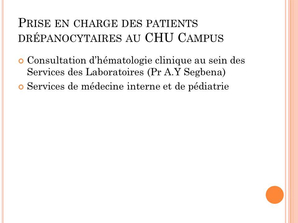 P RISE EN CHARGE DES PATIENTS DRÉPANOCYTAIRES AU CHU C AMPUS Consultation dhématologie clinique au sein des Services des Laboratoires (Pr A.Y Segbena)