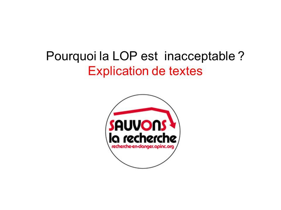 Pourquoi la LOP est inacceptable Explication de textes