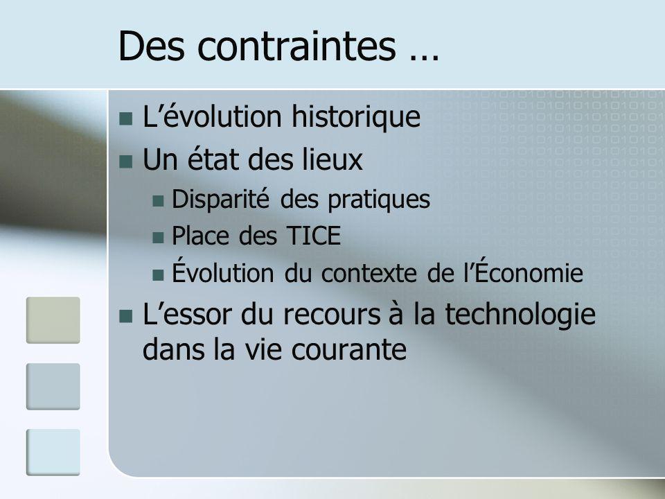 Des contraintes … Lévolution historique Un état des lieux Disparité des pratiques Place des TICE Évolution du contexte de lÉconomie Lessor du recours à la technologie dans la vie courante