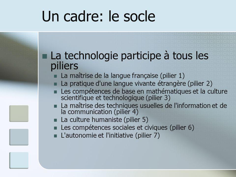 Un cadre: le socle La technologie participe à tous les piliers La maîtrise de la langue française (pilier 1) La pratique d une langue vivante étrangère (pilier 2) Les compétences de base en mathématiques et la culture scientifique et technologique (pilier 3) La maîtrise des techniques usuelles de l information et de la communication (pilier 4) La culture humaniste (pilier 5) Les compétences sociales et civiques (pilier 6) L autonomie et l initiative (pilier 7)