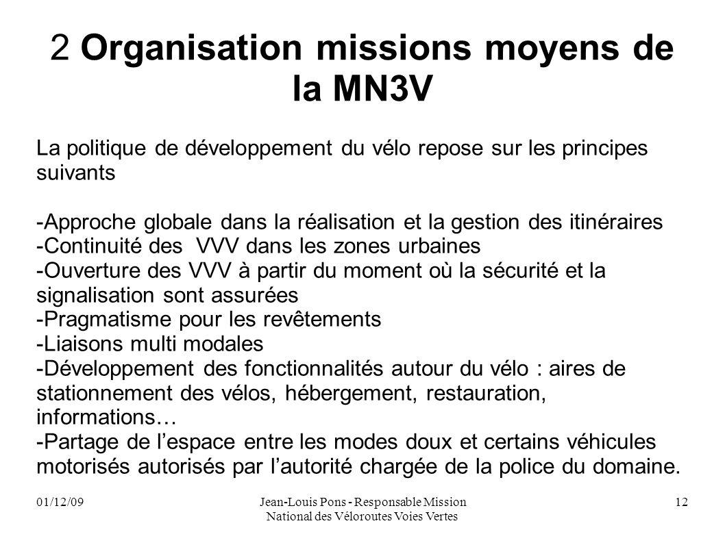 01/12/09Jean-Louis Pons - Responsable Mission National des Véloroutes Voies Vertes 12 2 Organisation missions moyens de la MN3V La politique de dévelo