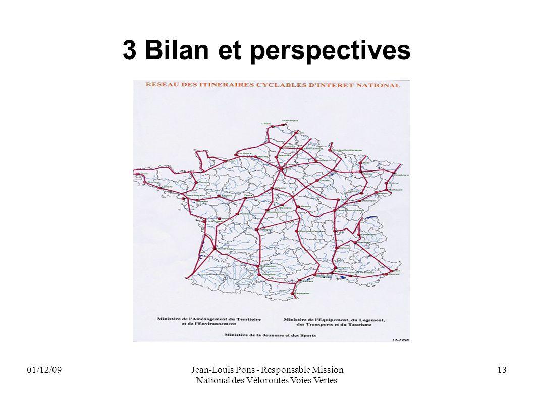 01/12/09Jean-Louis Pons - Responsable Mission National des Véloroutes Voies Vertes 13 3 Bilan et perspectives