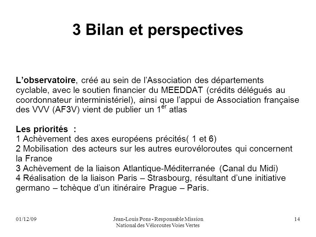 01/12/09Jean-Louis Pons - Responsable Mission National des Véloroutes Voies Vertes 14 3 Bilan et perspectives Lobservatoire, créé au sein de lAssociat