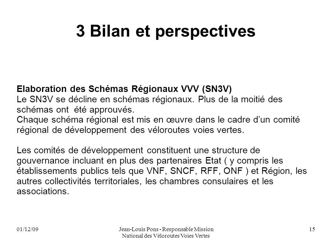 01/12/09Jean-Louis Pons - Responsable Mission National des Véloroutes Voies Vertes 15 3 Bilan et perspectives Elaboration des Schémas Régionaux VVV (S