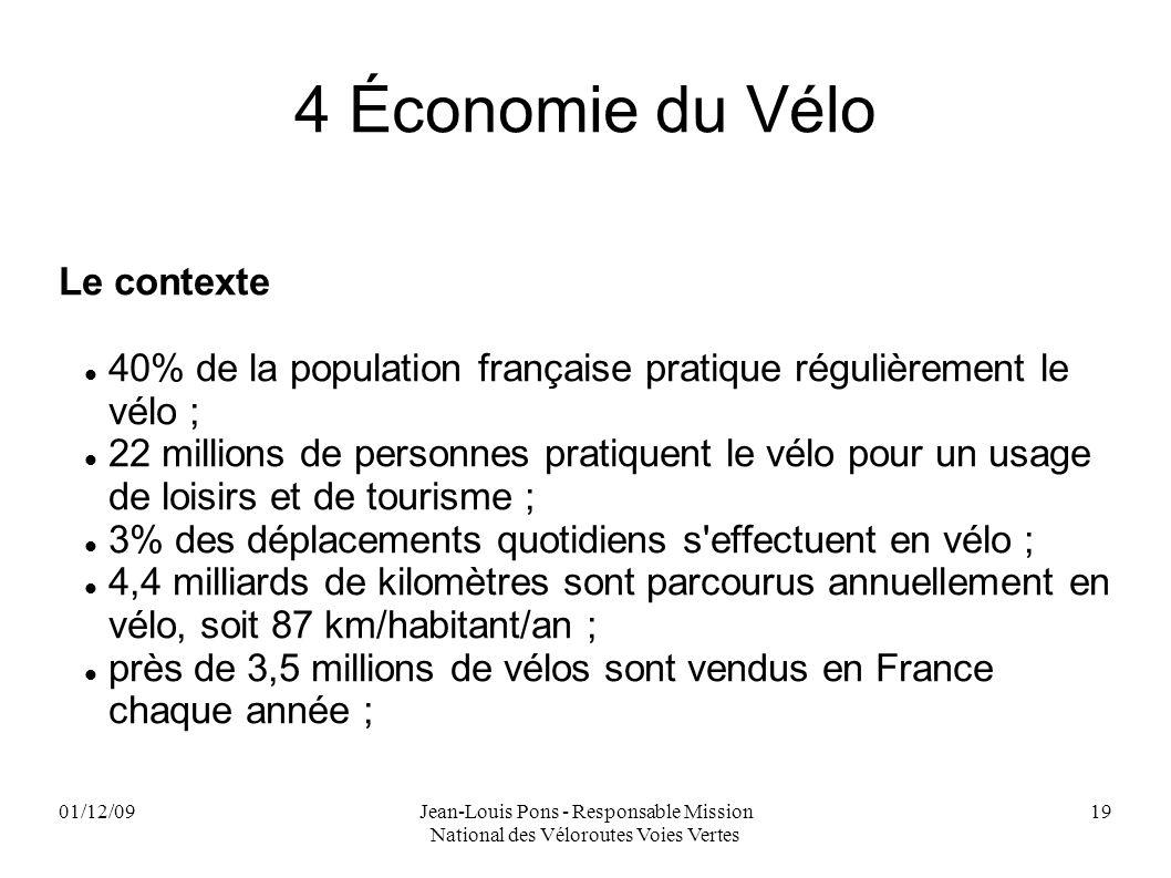 01/12/09Jean-Louis Pons - Responsable Mission National des Véloroutes Voies Vertes 19 4 Économie du Vélo Le contexte 40% de la population française pr