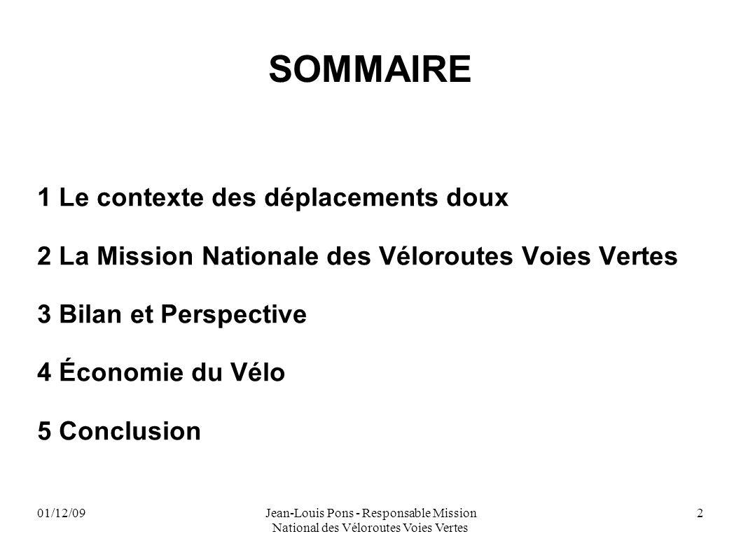 01/12/09Jean-Louis Pons - Responsable Mission National des Véloroutes Voies Vertes 2 SOMMAIRE 1 Le contexte des déplacements doux 2 La Mission Nationa
