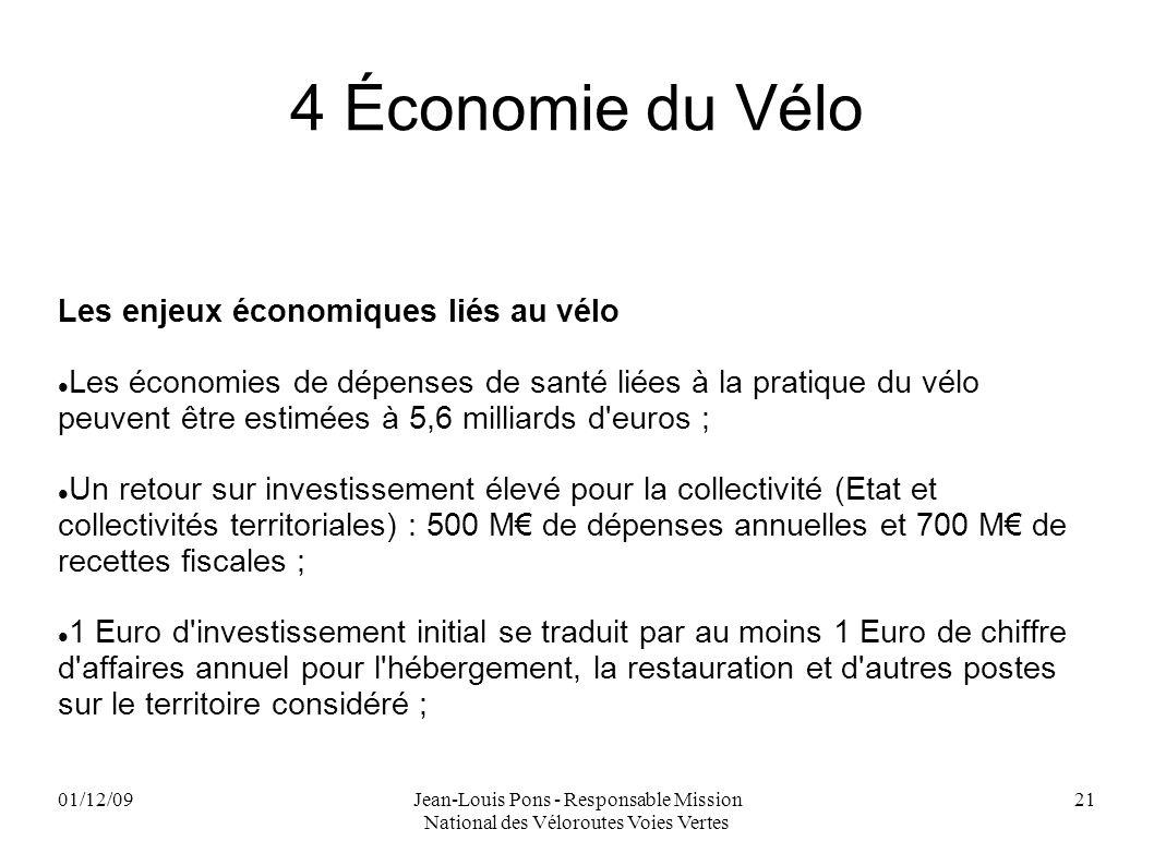 01/12/09Jean-Louis Pons - Responsable Mission National des Véloroutes Voies Vertes 21 4 Économie du Vélo Les enjeux économiques liés au vélo Les écono