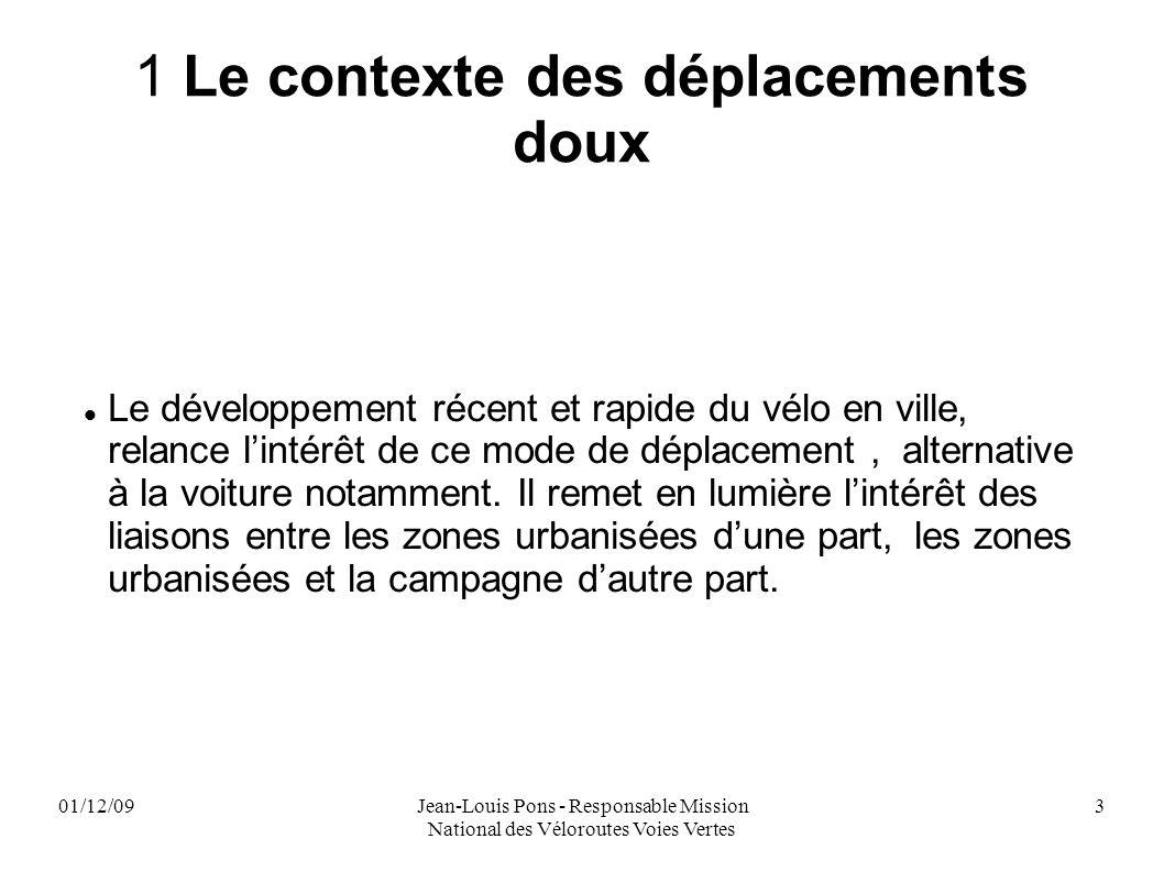 01/12/09Jean-Louis Pons - Responsable Mission National des Véloroutes Voies Vertes 3 1 Le contexte des déplacements doux Le développement récent et ra