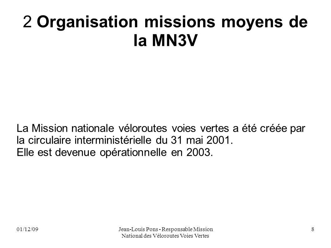 01/12/09Jean-Louis Pons - Responsable Mission National des Véloroutes Voies Vertes 8 2 Organisation missions moyens de la MN3V La Mission nationale vé