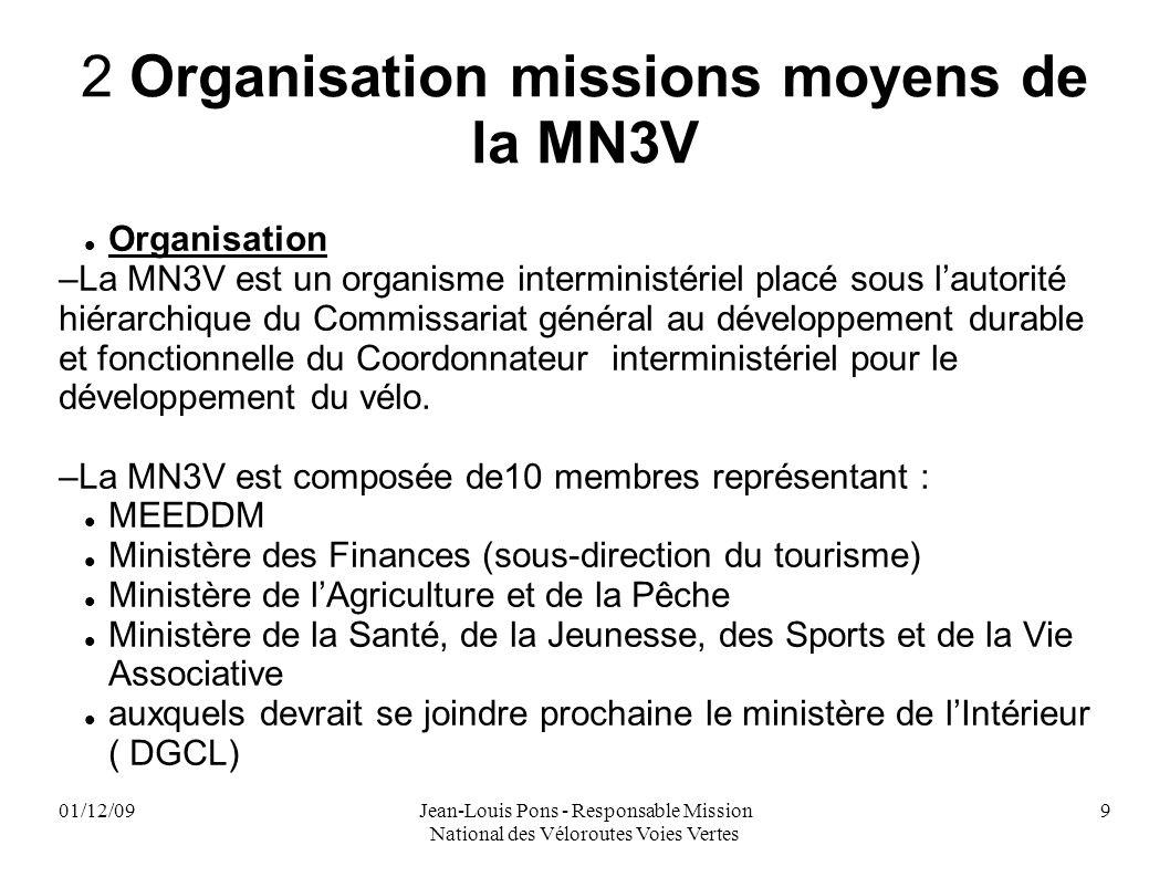 01/12/09Jean-Louis Pons - Responsable Mission National des Véloroutes Voies Vertes 9 2 Organisation missions moyens de la MN3V Organisation –La MN3V e