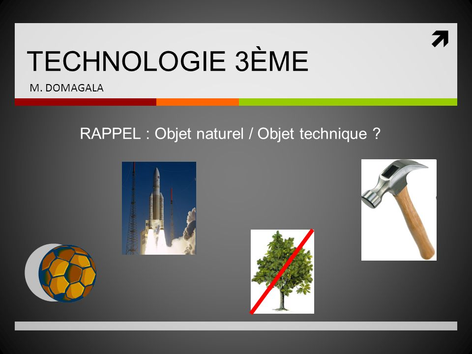 TECHNOLOGIE 3ÈME RAPPEL : Objet naturel / Objet technique ? M. DOMAGALA