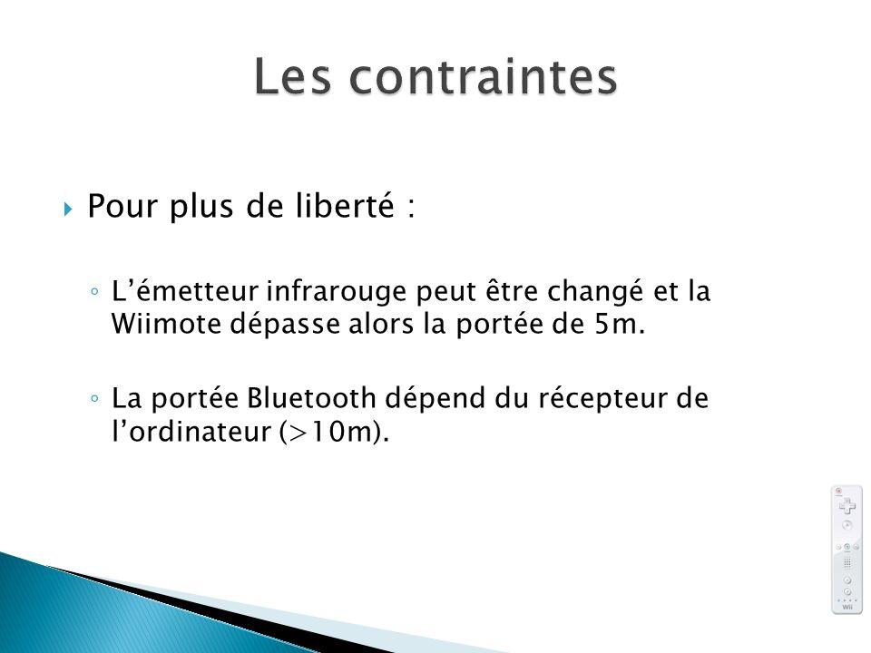 Pour plus de liberté : Lémetteur infrarouge peut être changé et la Wiimote dépasse alors la portée de 5m. La portée Bluetooth dépend du récepteur de l