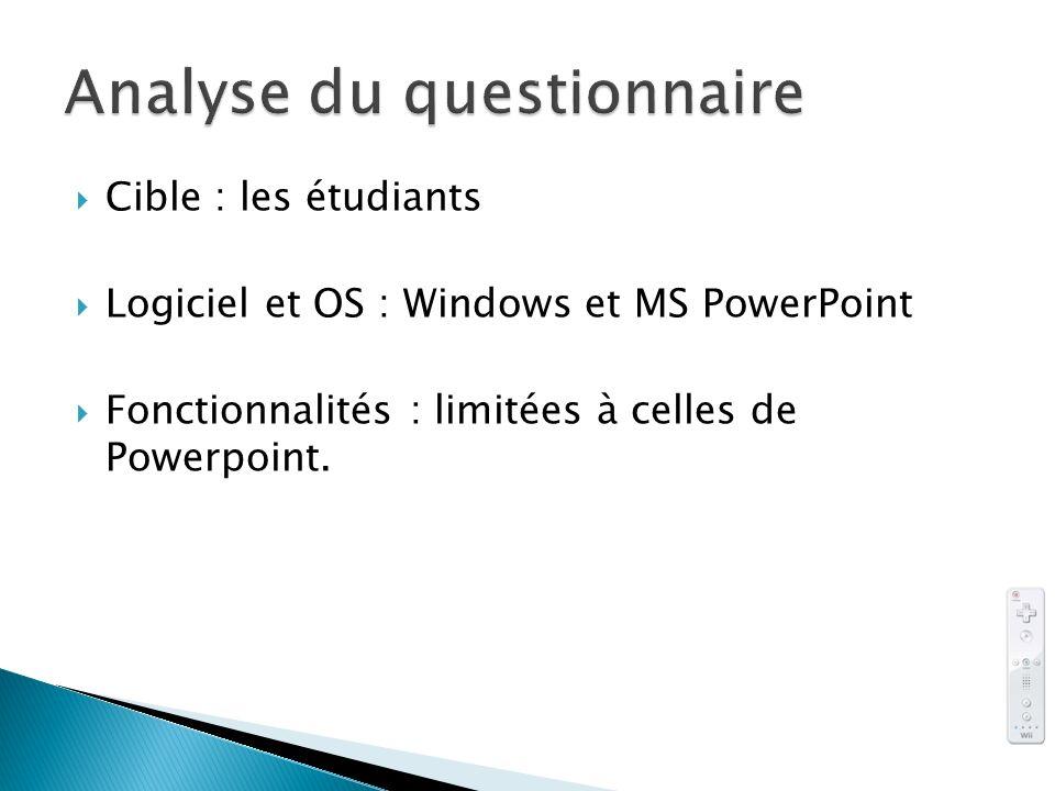Cible : les étudiants Logiciel et OS : Windows et MS PowerPoint Fonctionnalités : limitées à celles de Powerpoint.