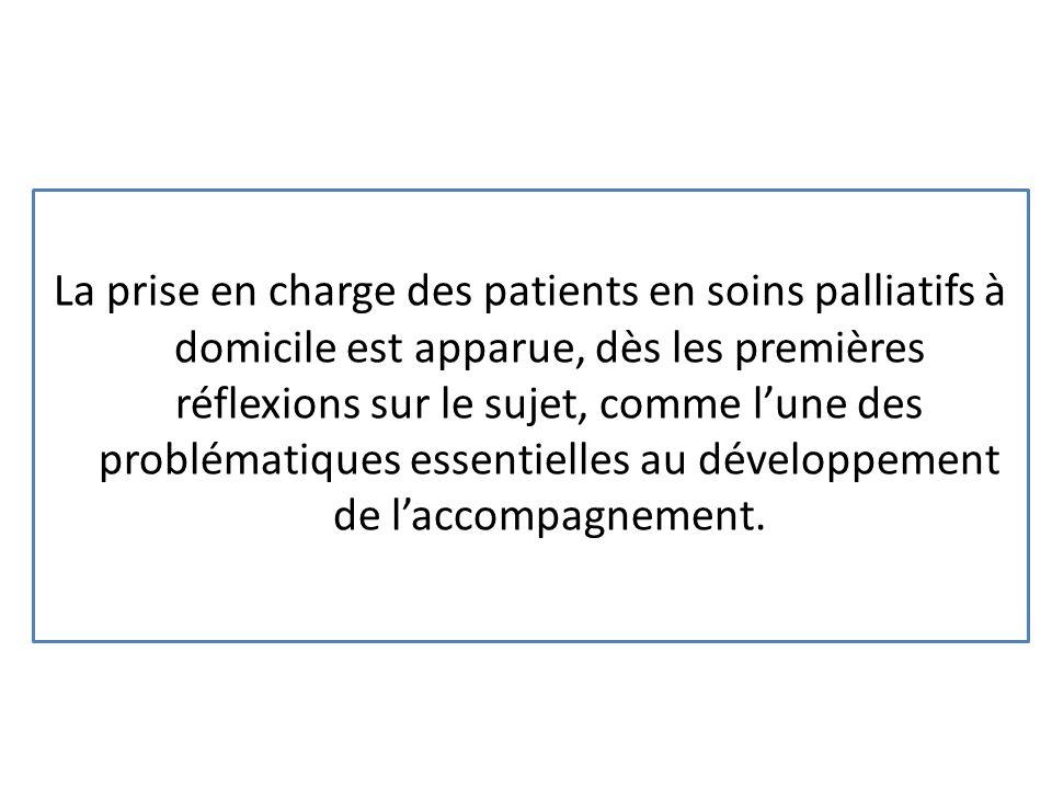 La prise en charge des patients en soins palliatifs à domicile est apparue, dès les premières réflexions sur le sujet, comme lune des problématiques e
