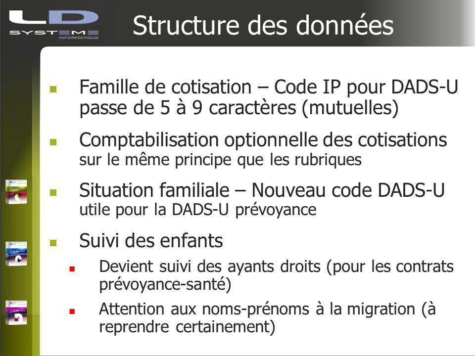 Structure des données Famille de cotisation – Code IP pour DADS-U passe de 5 à 9 caractères (mutuelles) Comptabilisation optionnelle des cotisations s