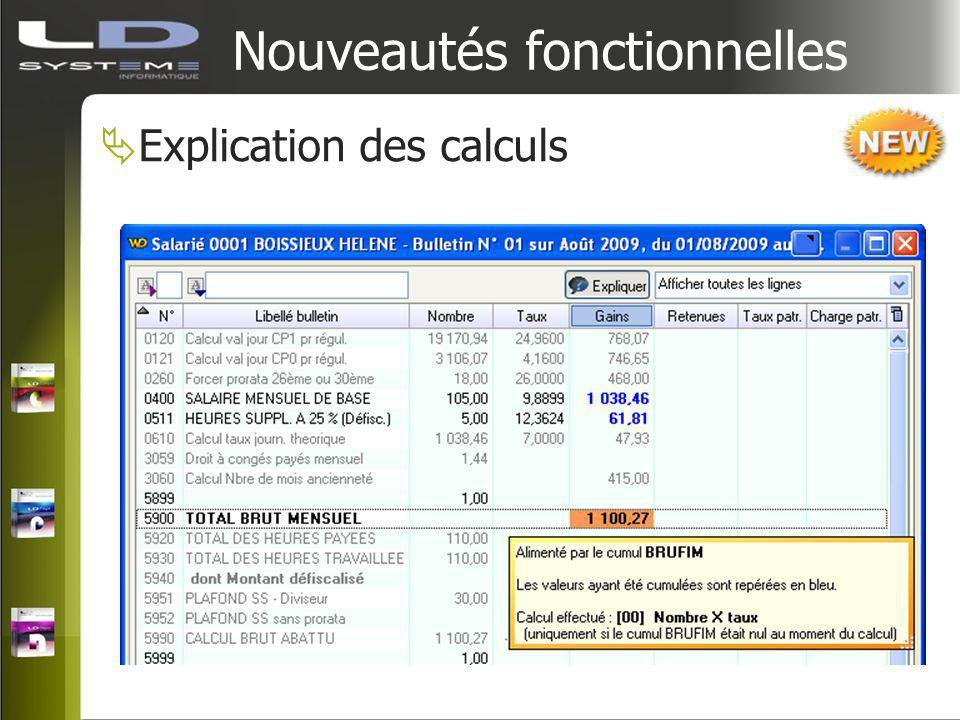 Nouveautés fonctionnelles Explication des calculs
