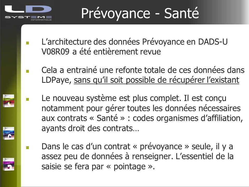 Prévoyance - Santé Larchitecture des données Prévoyance en DADS-U V08R09 a été entièrement revue Cela a entrainé une refonte totale de ces données dan