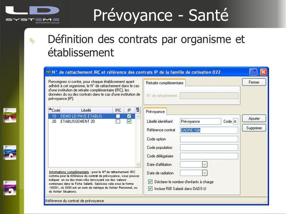 Prévoyance - Santé Définition des contrats par organisme et établissement