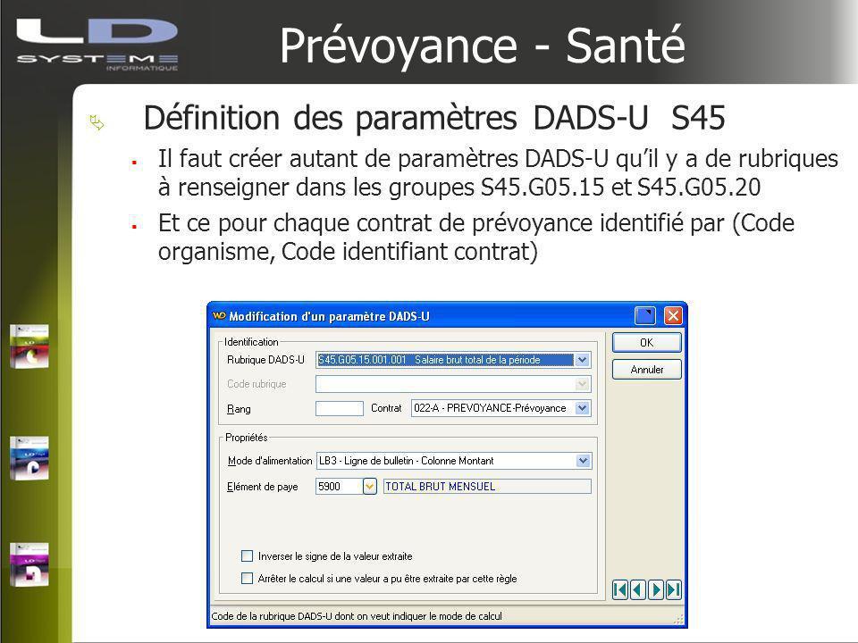 Prévoyance - Santé Définition des paramètres DADS-U S45 Il faut créer autant de paramètres DADS-U quil y a de rubriques à renseigner dans les groupes