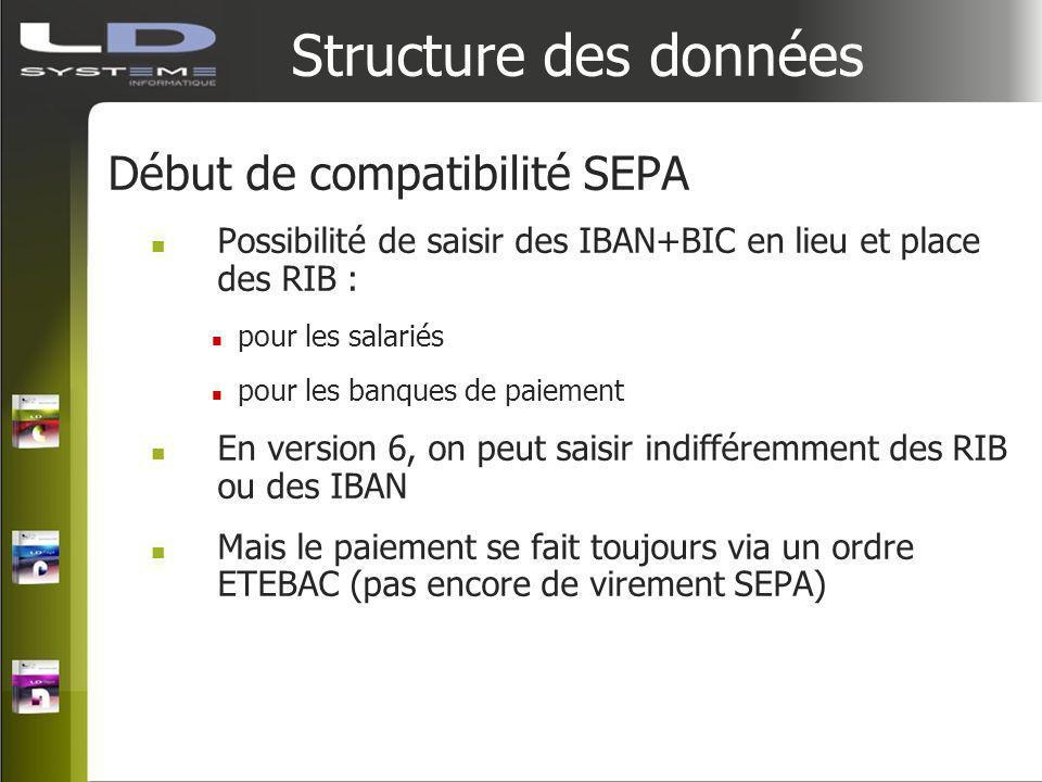 Structure des données Début de compatibilité SEPA Possibilité de saisir des IBAN+BIC en lieu et place des RIB : pour les salariés pour les banques de