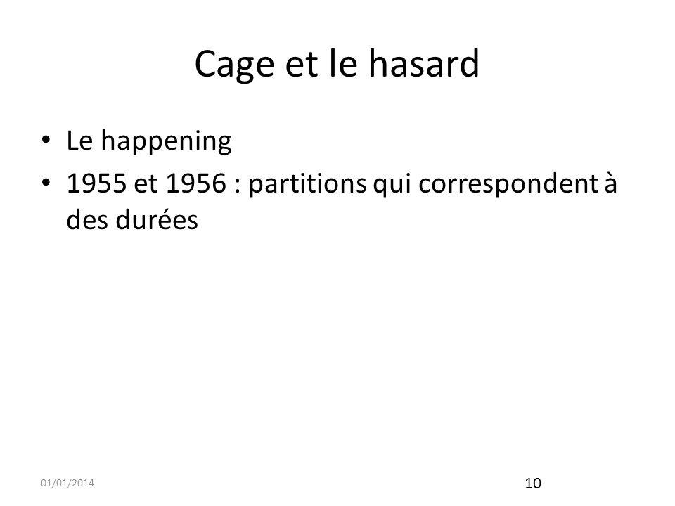 01/01/2014 11 Cage et le silence : 433 constitue laboutissement de la non-organisation Création David TUDOR