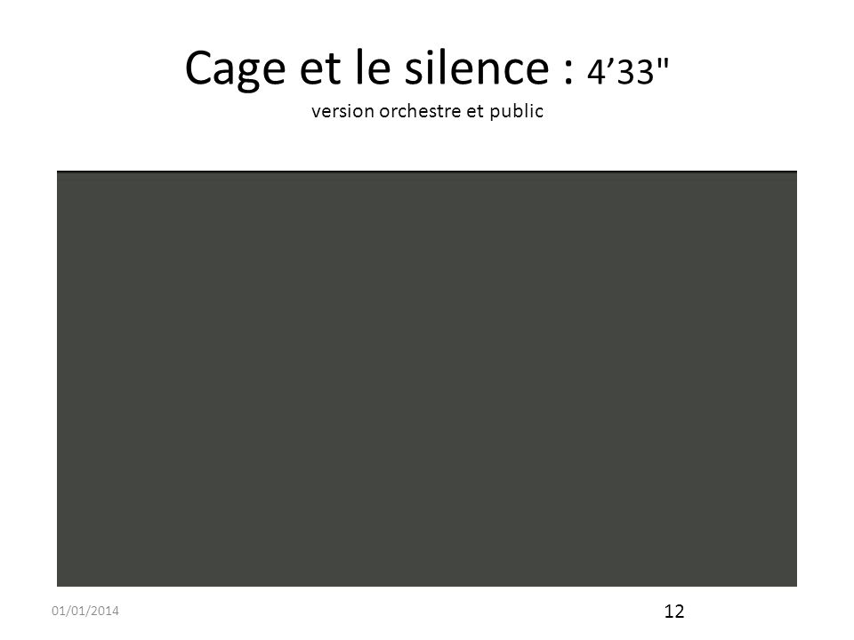 01/01/2014 13 Cage et le visuel Duchamp eut pour moi leffet de modifier ma manière de voir, de sorte que je suis devenu, à ma manière, un Duchamp pour moi-même.
