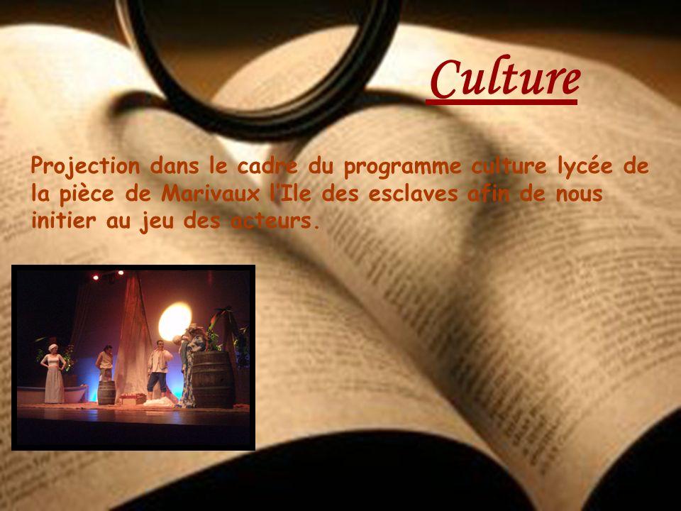 Projection dans le cadre du programme culture lycée de la pièce de Marivaux lIle des esclaves afin de nous initier au jeu des acteurs. Culture