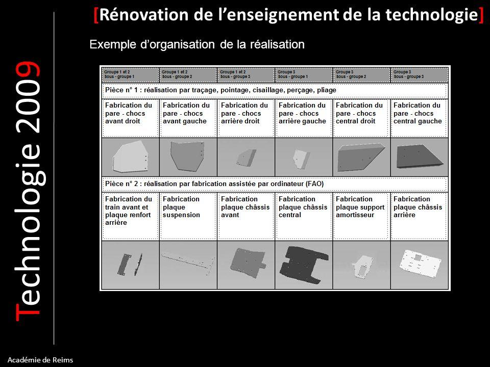 T echnologie 200 9 [Rénovation de lenseignement de la technologie] Académie de Reims Exemple dorganisation de la réalisation