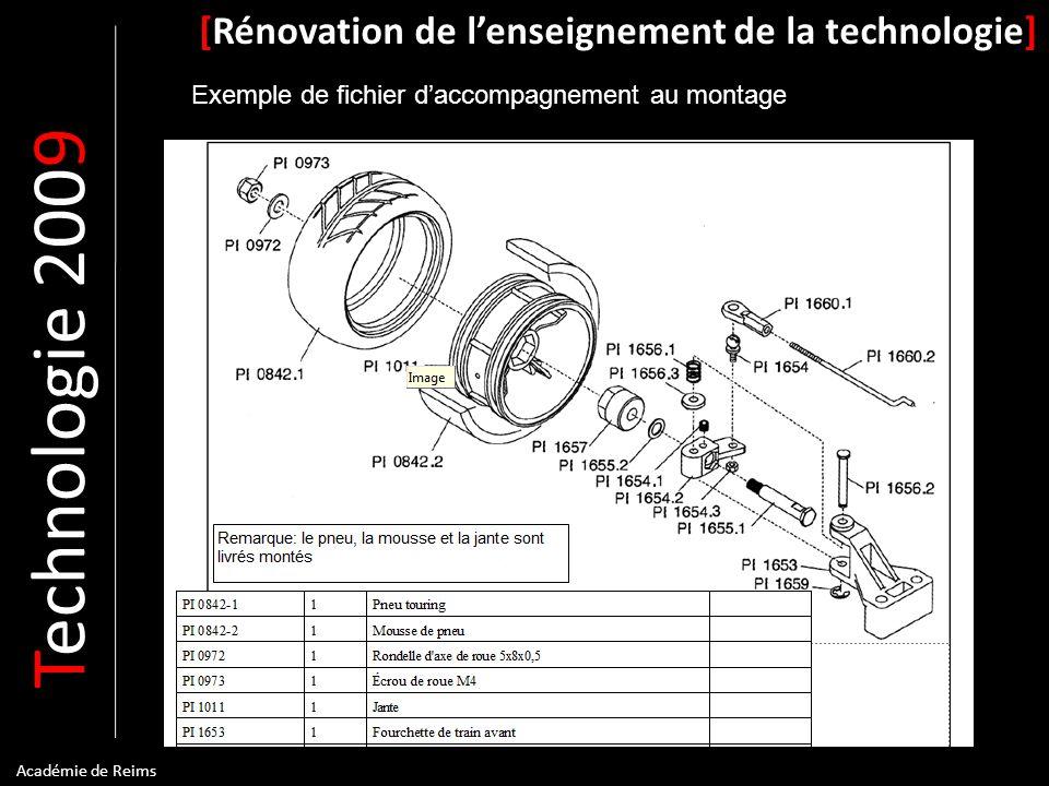 T echnologie 200 9 [Rénovation de lenseignement de la technologie] Académie de Reims Exemple de fichier daccompagnement au montage