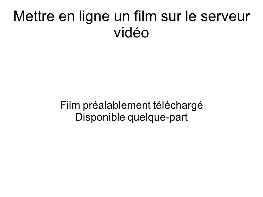 Mettre en ligne un film sur le serveur vidéo Film préalablement téléchargé Disponible quelque-part