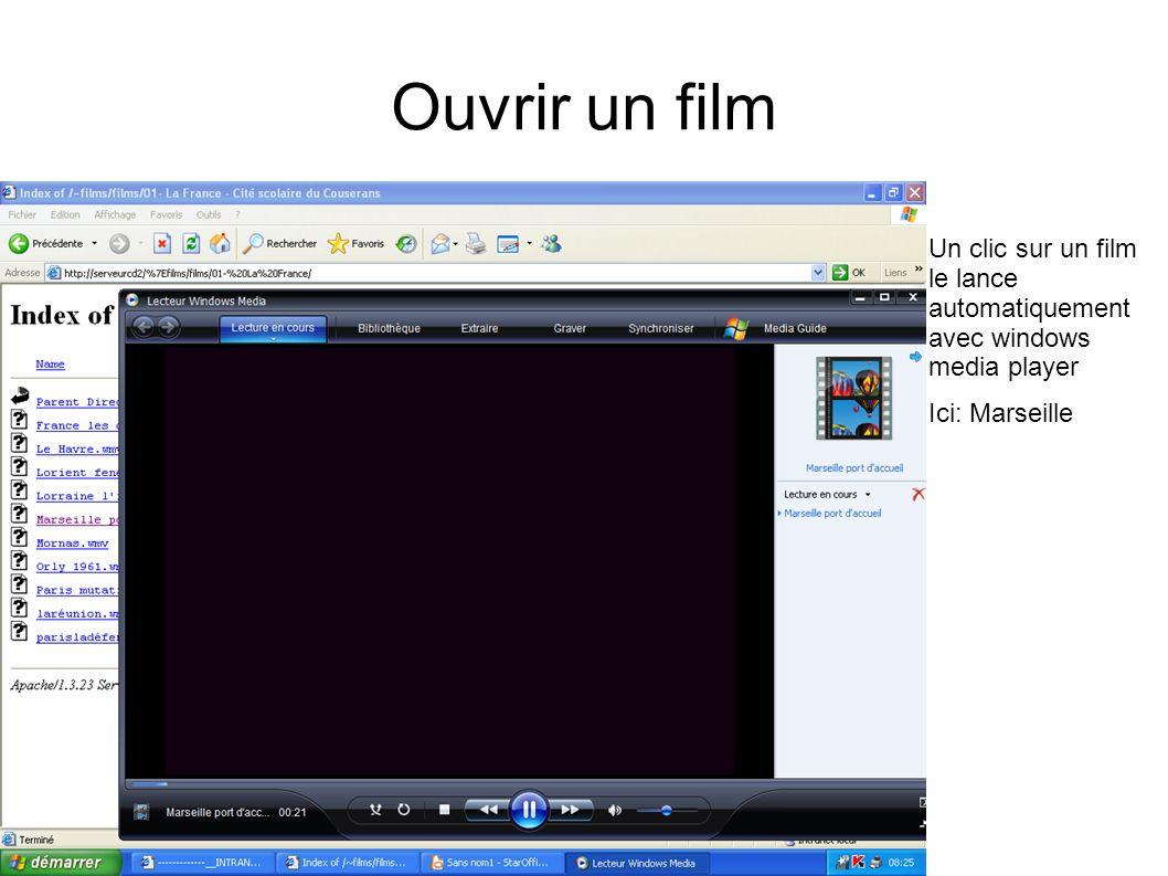 Ouvrir un film Un clic sur un film le lance automatiquement avec windows media player Ici: Marseille