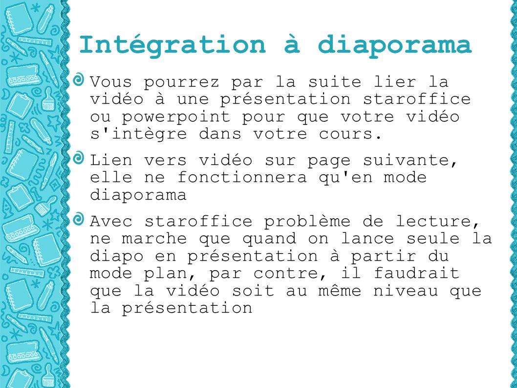 Intégration à diaporama Vous pourrez par la suite lier la vidéo à une présentation staroffice ou powerpoint pour que votre vidéo s intègre dans votre cours.