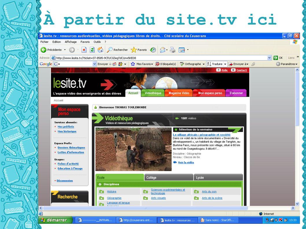 À partir du site.tv ici
