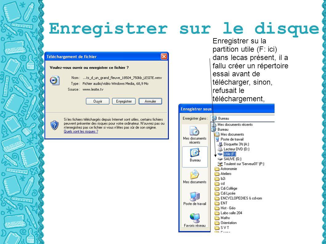 Enregistrer sur le disque Enregistrer su la partition utile (F: ici) dans lecas présent, il a fallu créer un répertoire essai avant de télécharger, sinon, refusait le téléchargement,
