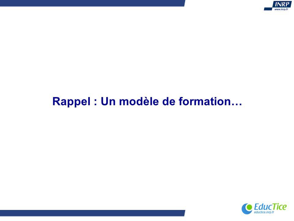 Rappel : Un modèle de formation…