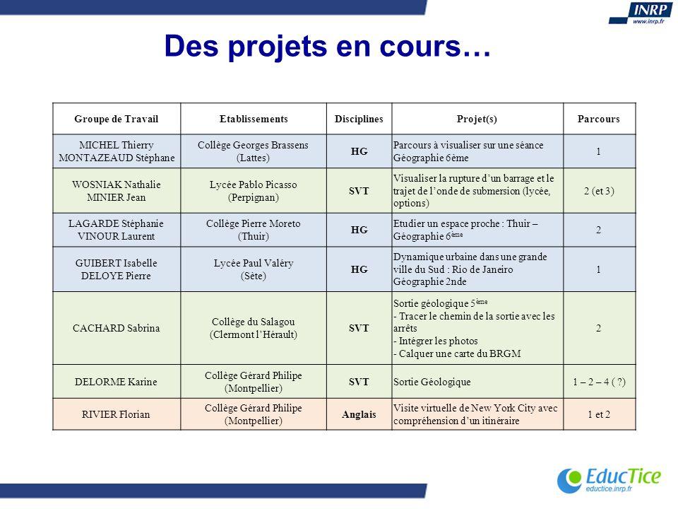 Des projets en cours… Groupe de TravailEtablissementsDisciplinesProjet(s)Parcours MICHEL Thierry MONTAZEAUD Stéphane Collège Georges Brassens (Lattes)