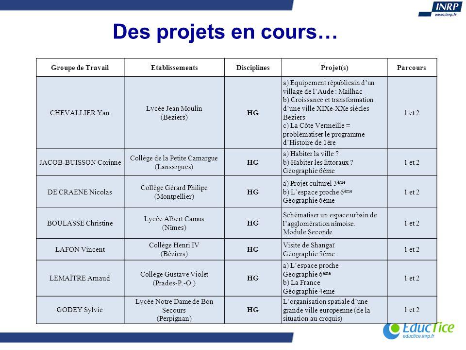 Des projets en cours… Groupe de TravailEtablissementsDisciplinesProjet(s)Parcours CHEVALLIER Yan Lycée Jean Moulin (Béziers) HG a) Equipement républic