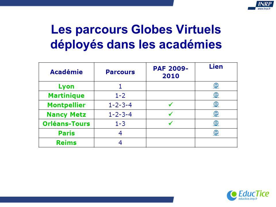 Les parcours Globes Virtuels déployés dans les académies AcadémieParcours PAF 2009- 2010 Lien Lyon1 @ Martinique1-2 @ Montpellier1-2-3-4 @ Nancy Metz1