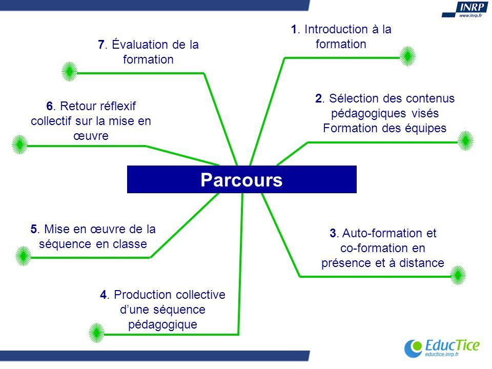 1. Introduction à la formation 2. Sélection des contenus pédagogiques visés Formation des équipes 3. Auto-formation et co-formation en présence et à d