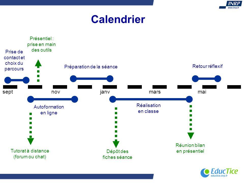 septnovjanvmarsmai Prise de contact et choix du parcours Autoformation en ligne Préparation de la séance Réalisation en classe Retour réflexif Dépôt d