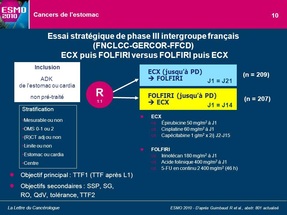 Cancers de l'estomac Essai stratégique de phase III intergroupe français (FNCLCC-GERCOR-FFCD) ECX puis FOLFIRI versus FOLFIRI puis ECX ESMO 2010 - Dap