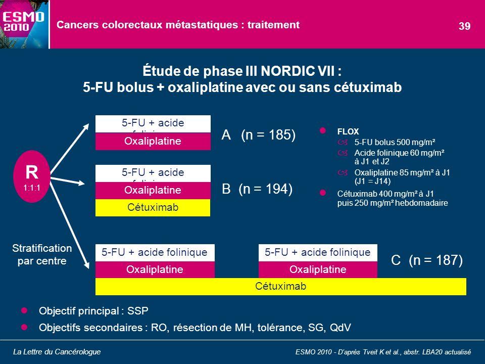 Cancers colorectaux métastatiques : traitement Étude de phase III NORDIC VII : 5-FU bolus + oxaliplatine avec ou sans cétuximab ESMO 2010 - Daprès Tve