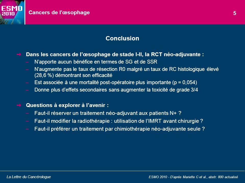 Cancers de l'œsophage Dans les cancers de lœsophage de stade I-II, la RCT néo-adjuvante : –Napporte aucun bénéfice en termes de SG et de SSR –Naugment
